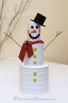 Tin can snowman - neat craft idea for kids