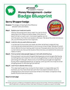 A comprehensive guide to completing the girl scout amuse journey in girl scouts of eastern missouri badge blueprint for junior savvy shopper badge pdf fandeluxe Choice Image