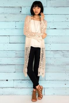 Sanford Crochet Duster Wrap  I actually love this ENTIRE look! The duster looks awesome with black skinny jeans and a white tank! The shoes give the perfect amount of edge to the look!