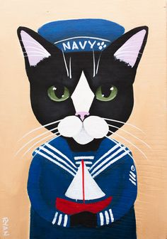 The Little Sailor 2  Original CAT Folk Art by KilkennycatArt
