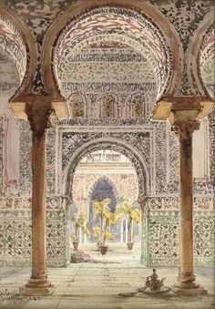 """ La Casa de Pilotos, Seville, Gabriel Carelli. Italian (1821 - 1900) - Pencil and Watercolor - """
