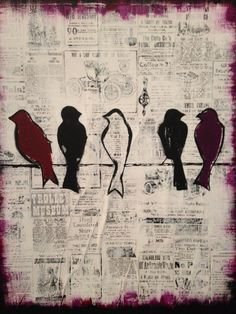 Birds on a wire painting. Materials: newsprint wrapping paper, paint, etc Pinterest Projects, Art Lessons, Art For Kids, Wrapping, Art Ideas, Wire, Adventure, Inspired, Children