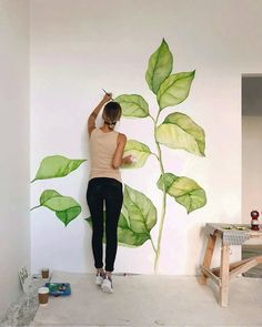 Leaves on a wall. Leaves on a wall. Leaves on a wall. Leaves on a wall. Wall Drawing, Deco Design, Studio Design, Design Art, Mural Art, Home Deco, Art Projects, Drawings, Illustration