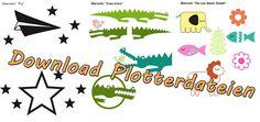 Plotte Freebies Krokodil, Fisch, Elefant, Vogel, Löwe, Blume, Pflanze, Papierflieger