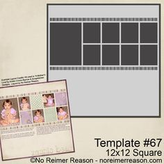 Two-Page Digital Scrapbook Template #76 | No Reimer Reason