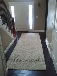 Make your own area rug out of remnant carpet + carpet binding tips