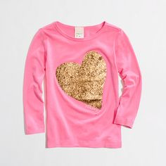 $9 J. Crew Factory girls' long-sleeve glitter heart keepsake tee