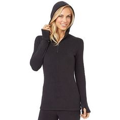 Plus Size Cuddl Duds Fleecewear with Stretch Half-Zip Hoodie Cuddle Duds, Full Zip Hoodie, Mom Style, Girls Out, Winter Outfits, Plus Size, Hoodies, Sweaters, How To Wear
