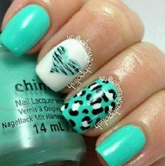 cute turquoise nail designs. Hate the leopard print, but love the heart