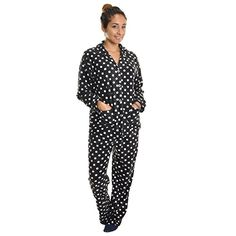 Angelina Womens Fleece Pajama Set Black  White Polka Dots Small ** Read more reviews of the product by visiting the link on the image.Note:It is affiliate link to Amazon.