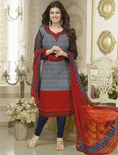 USD 34.52 Ayesha Takia White Cotton Churidar Suit 55786