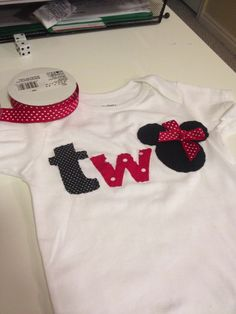 """""""two"""" minnie mouse shirt"""