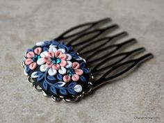 Elegant Floral Polymer Clay Applique Hair Comb in Pink, White and Navy