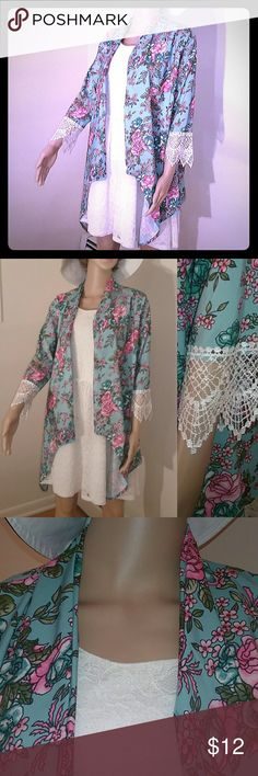 GeRuiSi Boho Floral and Lace Kimono Cardigan Foe everything from festivals and parties on the lanai to weddings and graduations this beaitiful kimono cardigan is perfect. This summer wardrobe must will get you noticed wherever you go. Pre-owned and gently used. This item is in excellent condition. Tops