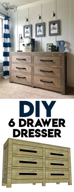 LOVE this dresser so much! I needed some extra storage for one of my boys, and I designed and built this as the solution! Come check out the FREE plans! via @shanty2chic Diy Furniture Projects, Diy Furniture Plans, Farmhouse Furniture, Furniture Stores, Furniture Outlet, Wood Projects, Furniture Repair, Diy Dresser Plans, Dresser Ideas