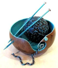 yarn gourd bowl ... What a great idea I need this.....