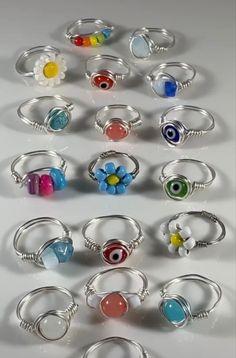 Wire Jewelry Rings, Wire Jewelry Designs, Handmade Wire Jewelry, Cute Jewelry, Crystal Jewelry, Beaded Jewelry, Jewelry Accessories, Jewlery, Hippie Jewelry