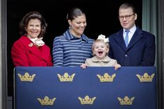 queensofias:  Birthday of King Carl Gustaf of Sweden, April 30, 2014-Queen Silvia, Crown Princess Victoria, Princess Estelle and Prince Daniel on the balcony