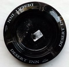 Desert Inn Las Vegas Strip Black Glass White Writing Hotel Round Ashtray #ASHTRAY