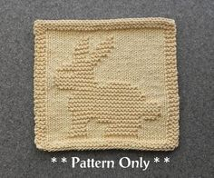 BUNNY RABBIT Knit Dishcloth Pattern, Baby Wash Cloth Pattern, Baby Blanket Square, Baby Shower Gift, Knitted Dishcloth Pattern, Easy Pattern by AuntSusansCloset, $4.00 USD