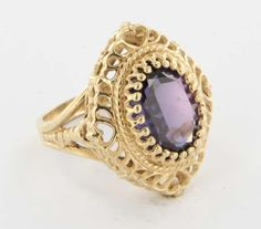 Vintage 14 Karat Yellow Gold Alexandrite Cocktail Ring Fine Estate Jewelry Used