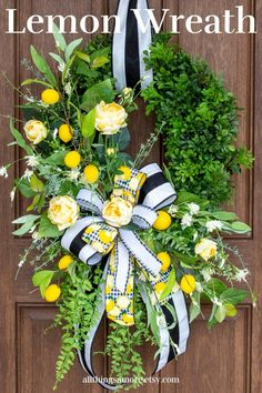 This lemon boxwood wreath is perfect for your spring and summer decor! It has bright lemons tucked into a boxwood base surrounded by various greenery, yellow roses, and wildflowers topped off by a gorgeous bow. It screams refreshing for this spring and summer! Boxwood Wreath, Grapevine Wreath, Wreaths For Front Door, Door Wreaths, Lemon Wreath, Deco Mesh Wreaths, Summer Wreath, Yellow Roses, Wildflowers