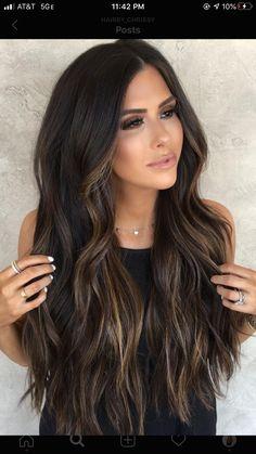 Belage Hair, Dark Brunette Balayage Hair, Elegantes Outfit, Hair Color Highlights, Hair Color For Black Hair, Gorgeous Hair, Hair Looks, Look Fashion, Hair Lengths