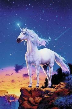 Unicorn against the starry sky.