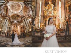 London wedding & Prague pre-weddings photographer - St. Nicholas Church engagement photos: pre wedding Prague C&C underneath the painted dome of St. Nicholas Church in Prague  To be honest, this is such an incredible portrait session and in so many ways: the splendor of Prague during the most beautiful parts of the day, a reportage / posed / natural style portrait session taking in many locations&nbsp,and of course the lovely Catherine and her husband Cedric.Son who are great fun to be…