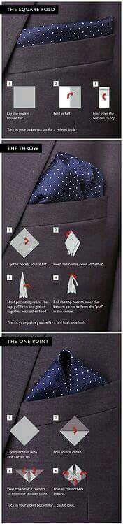 Always wondered how to fold a pocket square for a tuxedo? You know… one of those handkerchief looking things that men put on the front pocket of their tuxedos? Well here is a visual guide for that! The Square Fold Lay the pocket square flat. Fold in hal Sharp Dressed Man, Well Dressed Men, Style Gentleman, Style Masculin, Business Mode, Mens Fashion, Fashion Outfits, Fashion Ideas, Fashion Check