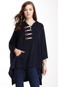 Autumn Cashmere Hooded Cashmere Toggle Button Poncho