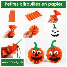 Small paper pumpkins - Children's activities - claire vallée - - Petites citrouilles en papier – Activités enfantines For Halloween, create pretty little paper pumpkins to hang. An easy activity, a result that will give the (! Halloween Party Snacks, Halloween Crafts For Toddlers, Halloween Tags, Halloween Pumpkins, Kids Crafts, Craft Kids, Diy Felt Christmas Tree, Manualidades Halloween, Halloween Porch Decorations