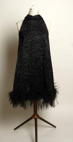 Sparkly Feather-Hem Black Halter Dress