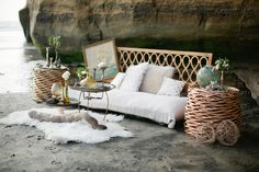 Lounge area for a Bohemian Beach Wedding // Photography Swoon by Katie, Styling Rachel of Lace & Likes, Furniture Pow Wow Vintage Rentals