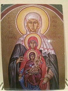 Maria (Anna's Mother) holding her daughter, St. Anna, holding her daugter, the Theotokos holding her Son, Jesus Religious Images, Religious Icons, Religious Art, Catholic Art, Catholic Saints, Madonna Images, St Clare's, Blessed Mother Mary, Best Icons