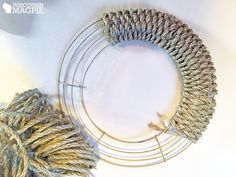 Making a Woven Wreath by WisconsinMagpie - wrapping sisal rope around wreath frame. Could be used year-round, just embellish according to the season. Twine Wreath, Wreath Crafts, Diy Wreath, Wreath Ideas, Fabric Wreath, Wreath Making, Rag Wreaths, Burlap Wrapped Wreath, Mesh Ribbon Wreaths