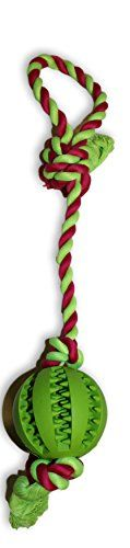 Dog Chew Ball and Rope Toy Interactive Tug of War Rope Great for Fetch for Big Dogs and Puppies Chew toy Green With RedGreen Rope -- You can find out more details at the link of the image.(This is an Amazon affiliate link and I receive a commission for the sales)