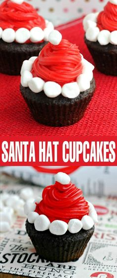 Santa Hat Cupcakes are perfect for a Christmas party desserts table. Your family will love this easy Christmas treat idea!These Santa Hat Cupcakes are perfect for a Christmas party desserts table. Your family will love this easy Christmas treat idea! Easy Christmas Treats, Holiday Snacks, Christmas Party Food, Xmas Food, Christmas Cupcakes, Christmas Sweets, Christmas Cooking, Santa Christmas, Christmas Popcorn