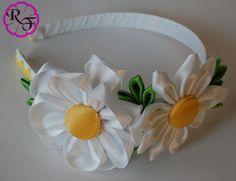 Kanzashi Flowers white Flowers Headband por RainOfFlowers en Etsy
