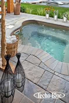 Poolside - Blu60 slab by Techo-Bloc - contemporary - swimming pools and spas - Techo-Bloc