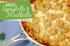 Baked Spaghetti & Meatballs - comfort food at its finest! Super easy to make and deliciously cheesy and carb-y. Baked Spaghetti And Meatballs, Italian Meatballs, Spaghetti Noodles, Spaghetti Sauce, Parmesan Pasta, Saute Onions, Italian Seasoning, How To Cook Pasta, Recipe Using