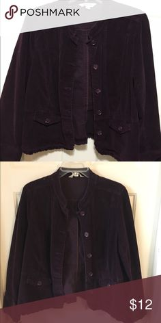 Deep purple blazer jacket Corduroy ruffle hem and edges on arm. Worn a few times. Like new Jackets & Coats Blazers