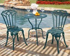 3 Pc Bistro Set Outdoor Patio Cast Aluminum Porch Pool Garden Furniture Tulip #SimpleLiving #TraditionalClassic