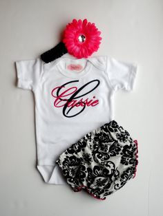 Personalized Baby Girl Clothes Damask Diaper Cover  Flower Headband Newborn Girl Take Home Monogrammed Baby Girl Outfit Gift Set via Etsy