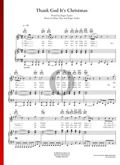 Thank God It's Christmas by Queen - Piano Sheet Music Christmas Sheet Music, G Major, Piano Sheet Music, Freddie Mercury, Thank God, Special Occasion, Guitar, Pdf, Queen