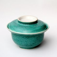 handmade ceramic bowl and plate set ~ bowl with lid ~ cereal bowl ~ soup bowl ~ bright, light turquoise glaze ~ wheel thrown stoneware clay