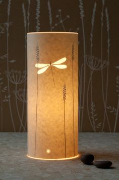 Small Dragonfly Table Lamp by Hannah Nunn Paper Lampshade, Lampshade Ideas, Glow, Paper Table, Lantern Chandelier, Stunning Wallpapers, Paper Light, Parchment Paper, Bedside Lamp