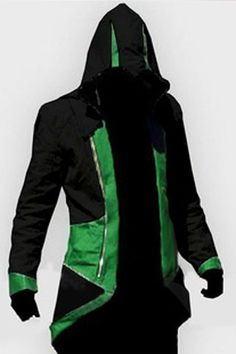 Hooded Color Block Splicing Assassin's Creed Long Sleeve Cosplay Jacket For Men