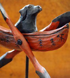 Image of Rustic Black Lab & Canoe Whirligig