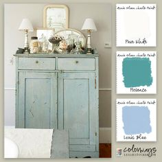 Colorways with Leslie Stocker » Flea Market Find For a finish like this use Annie Sloan Chalk Paint in these colors: Provence, Louis Blue, and Pure White